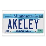 Akeley License Plate Rectangle Sticker