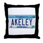 Akeley License Plate Throw Pillow