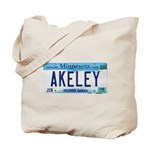Akeley License Plate Tote Bag