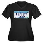 Akeley License Plate Women's Plus Size V-Neck Dark