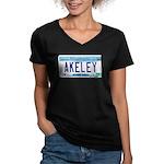 Akeley License Plate Women's V-Neck Dark T-Shirt
