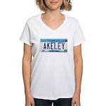 Akeley License Plate Women's V-Neck T-Shirt