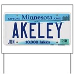 Akeley License Plate Yard Sign