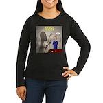 T-Rex Playing Poo Women's Long Sleeve Dark T-Shirt