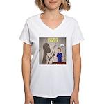 T-Rex Playing Pool Women's V-Neck T-Shirt