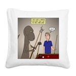 T-Rex Playing Pool Square Canvas Pillow