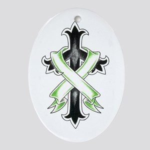 Bannered Cross Oval Ornament