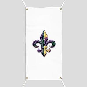 Fleur de lis Mardi Gras beads Banner