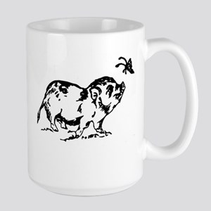 Large Mug with Potbelly Pig and Butterfly