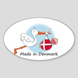 Stork Baby Denmark Oval Sticker