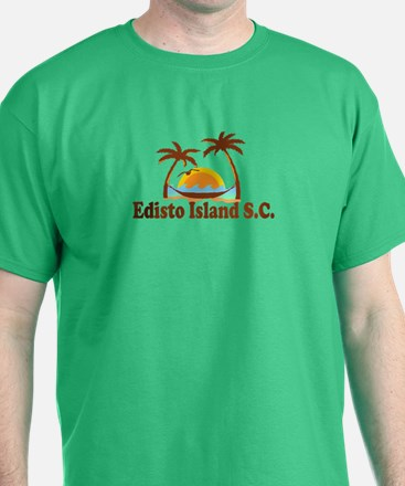Edisto Island SC - Sun and Palm Trees Design T-Shirt