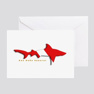 Shark Diving Flag Greeting Card