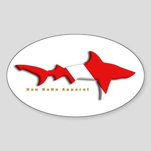 Shark Diving Flag Oval Sticker