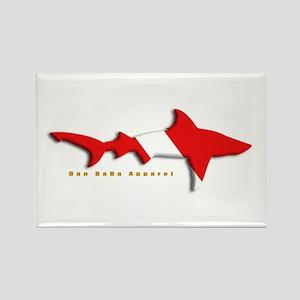 Shark Diving Flag Rectangle Magnet
