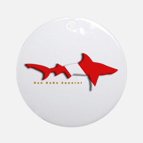 Shark Diving Flag Ornament (Round)
