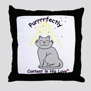 Purrrfectly content Throw Pillow