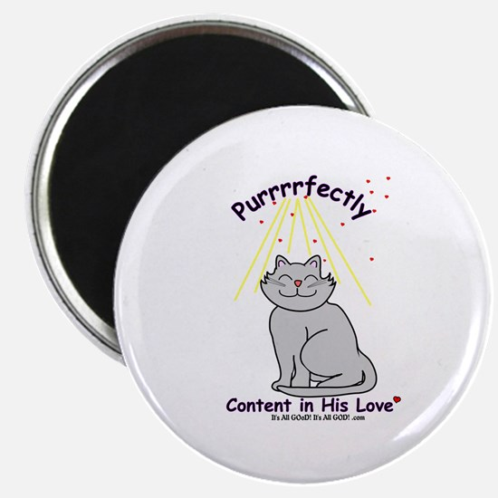 """Purrrfectly content 2.25"""" Magnet (100 pack)"""