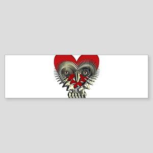 Metal Skull/Heart Bumper Sticker