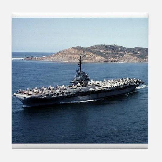 CV 16 Ship's Image Tile Coaster