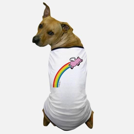 Flying Pig Rainbow Dog T-Shirt