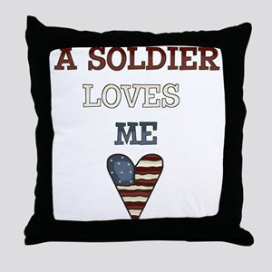 A soldier loves me Throw Pillow