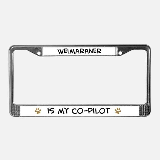 Co-pilot: Weimaraner License Plate Frame