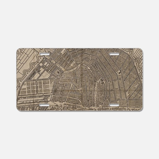 Vintage Map of Amsterdam (1 Aluminum License Plate
