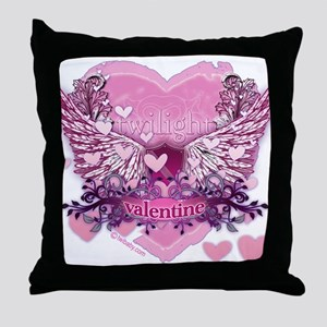 Twilight Valentine Heart Wings Throw Pillow