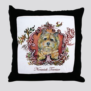 Norwich Terrier Vintage Throw Pillow