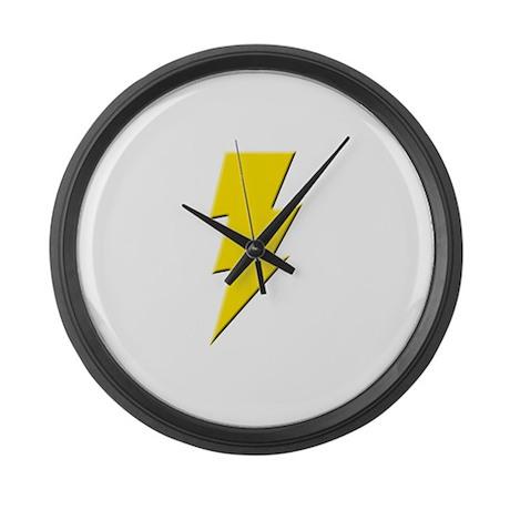 Yellow Lightning Large Wall Clock