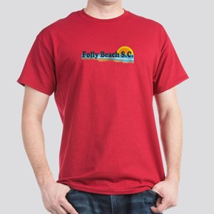 Folly Beach SC - Beach Design Dark T-Shirt