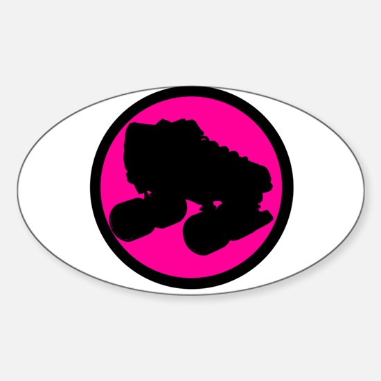 Pink Circle Skate Sticker (Oval)