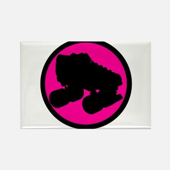 Pink Circle Skate Rectangle Magnet
