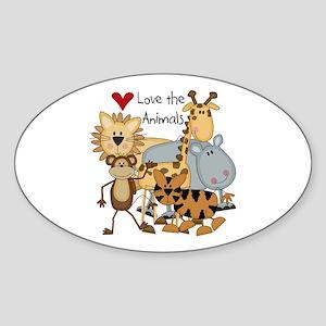 Love the Animals Oval Sticker