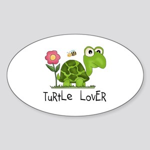 Turtle Lover Oval Sticker