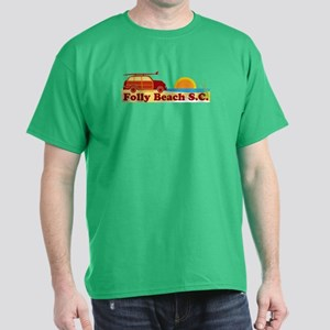 Folly Beach - Surfing Design Dark T-Shirt