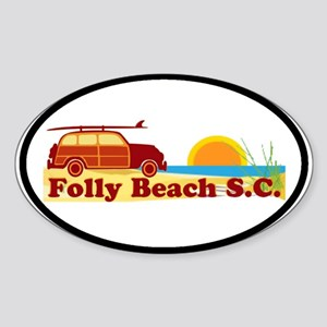 Folly Beach - Surfing Design Oval Sticker