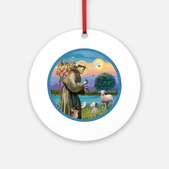 St. Francis / Poodle (parti) Ornament (Round)