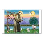 St. Francis / Poodle (parti) Rectangle Sticker