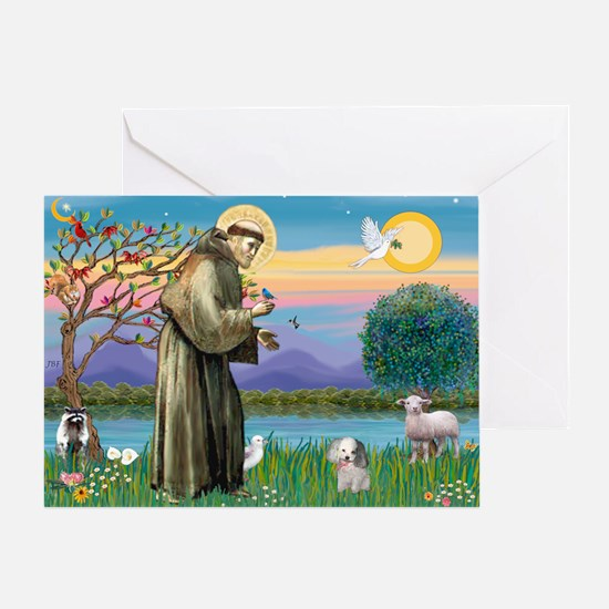 St. Francis / Poodle (parti) Greeting Card