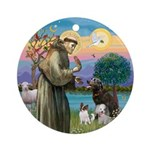 St Francis/3 dogs Ornament (Round)