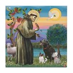 St Francis/3 dogs Tile Coaster