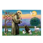 St Francis/3 dogs Postcards (Package of 8)