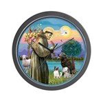 St Francis/3 dogs Wall Clock