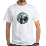 St Francis/3 dogs White T-Shirt