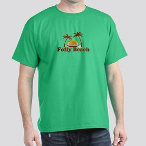 Folly Beach - Sun and Palm Trees Design. Dark T-Sh