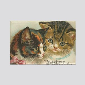 Christmas New Year's Cats Vintage Rectangle Magnet