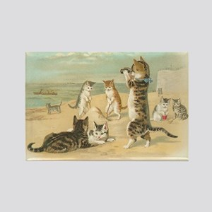 Cats on Beach Vintage Art Rectangle Magnet