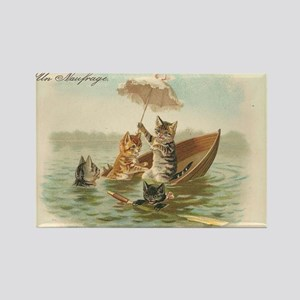 Cats in Capsized Boat Vintage Art Rectangle Magnet