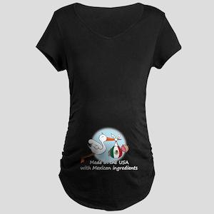 Stork Baby Mexico USA Maternity Dark T-Shirt